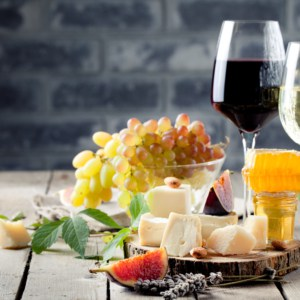 raw honey with wine and cheese