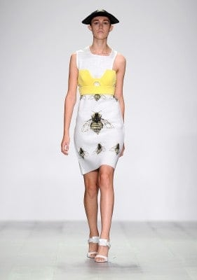 white bee patterned dress